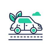 Eco Car - modern vector single line icon. An image of a vehicle that is fueled by ecologically clean energy, leaves, road. Representation of green transportation, new way, better tomorrow.