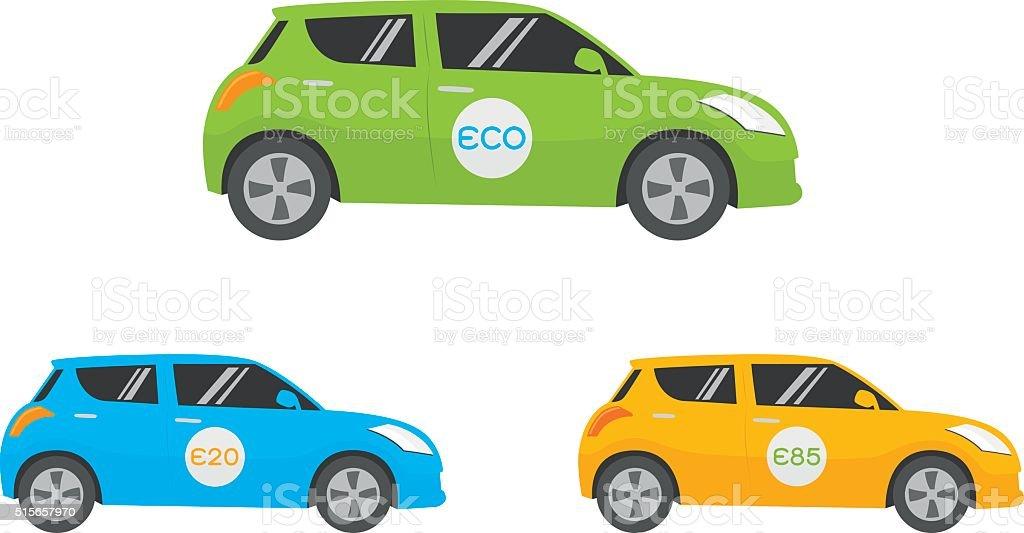 Eco Car vector art illustration