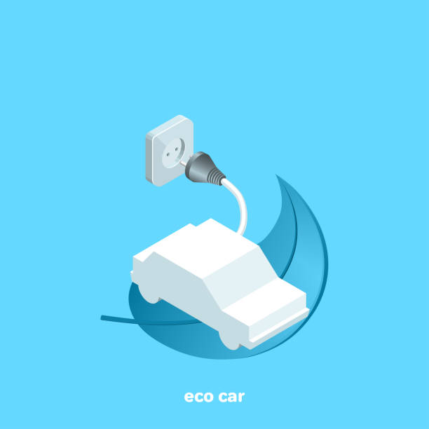 eco car electric car on a plant leaf and an electrical outlet on a blue background, isometric image hybrid vehicle stock illustrations