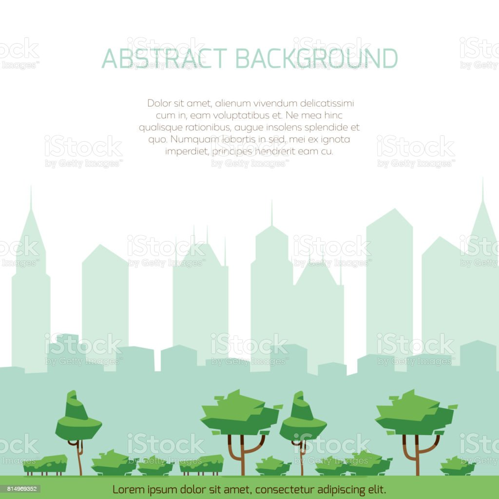 Eco City Concept Background Modern City Silhouette And Flat Park