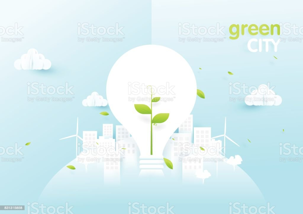 Eco city concept. Light bulbs with sapling in green ecology city....