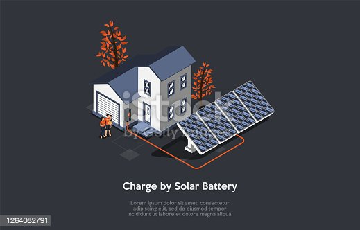 Eco City Concept. People Use Alternative Energy Sources. Friendly Renewable Energy Saving. Solar Panels For Home Produce Energy. Housing For Young Families. Cartoon Isometric 3D Vector Illustration.