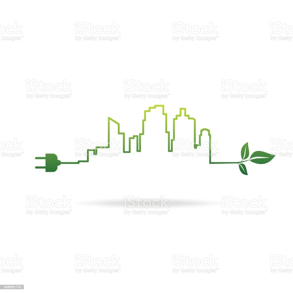 eco city energy vector art illustration