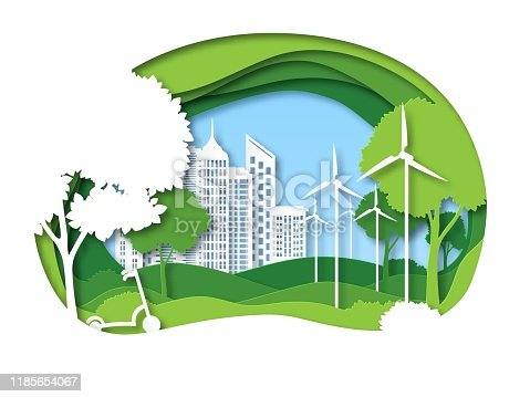 Eco city. Future ecosystem with building, tree and windmill. Green recycling energy, save environment papercut vector urban ecology protection biology concept