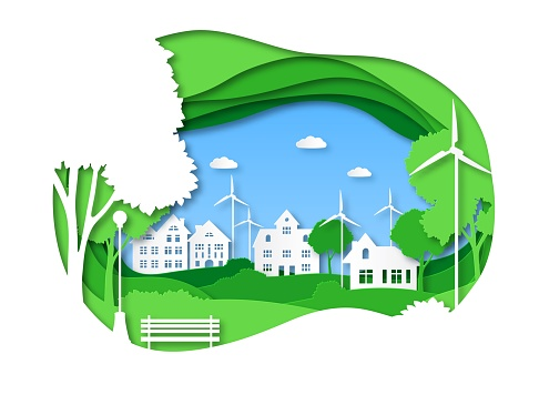 Eco city. Save energy green technology, solar town with alternative energy. Origami cityscape with trees, ecosystem papercut vector concept