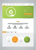 Eco Clean Modern Website Interface Template, Vector Illustration.
