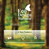 Eco design - Green and Sustainable, vector blurred background.