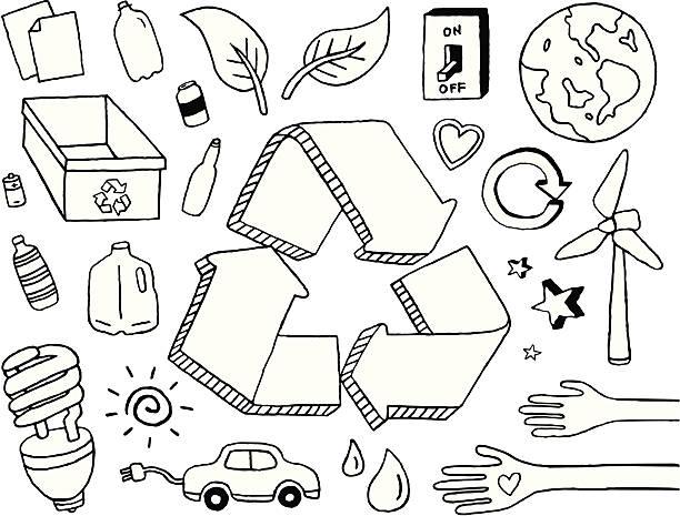 bildbanksillustrationer, clip art samt tecknat material och ikoner med eco doodles - recycling heart