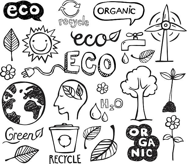 Eco Doodles Eco and organic doodles - icons. Ecology, sustainable development, nature protection. doodle stock illustrations