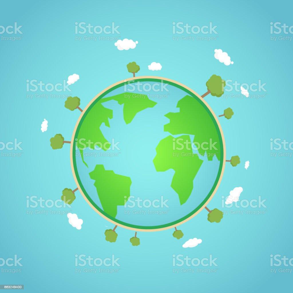 エコ地球地球概念ベクトル イラストツリーの周りの雲と緑の世界自然と