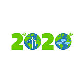 Happy New Year 2020 logo design, with two Planet, solar panels, windmills. Eco energy. Vector illustration. Isolated on white background.
