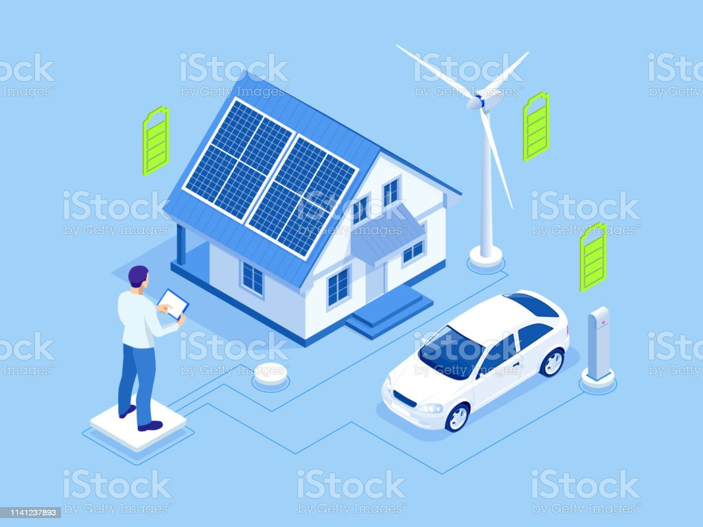 Eco energy and Ecology concept. Green energy an eco friendly modern...