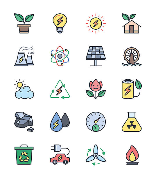 eco energy and power icons, color set - vector illustration - electrical wiring home stock illustrations, clip art, cartoons, & icons