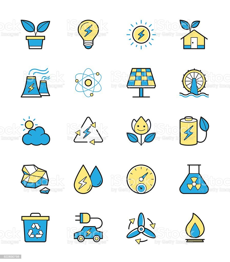 Eco Energy and Power icons, Monochrome color  - Vector Illustration vector art illustration