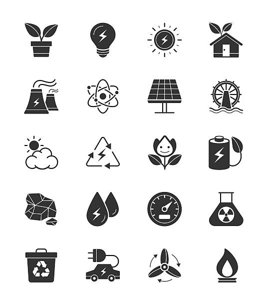 eco energy and power icons on white background - electrical wiring home stock illustrations, clip art, cartoons, & icons