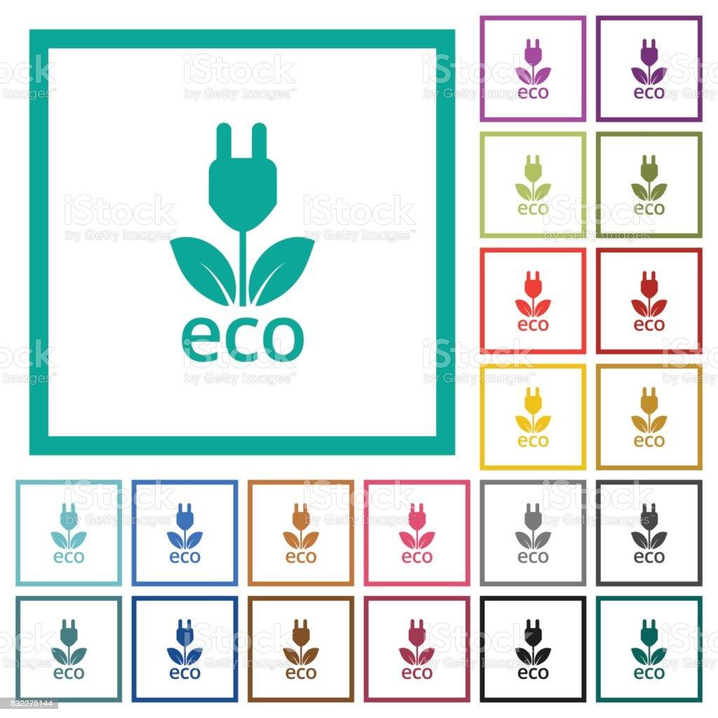 Ilustración de Iconos De Color Plano De Energía De Eco Con Marcos De ...