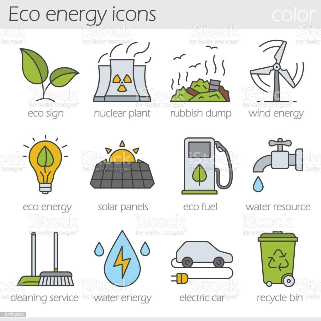Eco energy icons vector art illustration