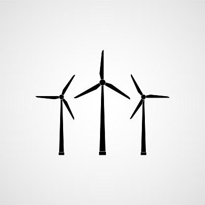 Eco energy. Wind turbines. Vector illustration