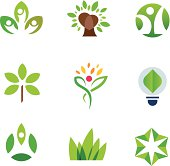 Eco environment awareness green tree nature community  logo icon set