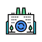 eco environmental factory color icon vector. eco environmental factory sign. isolated symbol illustration