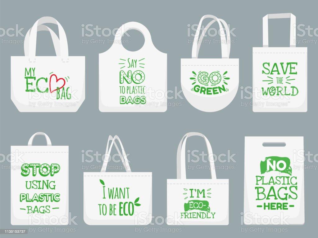 Eco Fabric Bag Say No To Plastic Bags Polythene Refuse Ban Slogan And Textile Shopping Handbag Vector Illustration Stock Illustration Download Image Now Istock