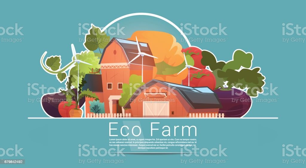 Eco Farming, Farm House, Farmland With Wind Turbine Renewable Energy Station vector art illustration