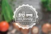 eco farming line symbol on blurred food background