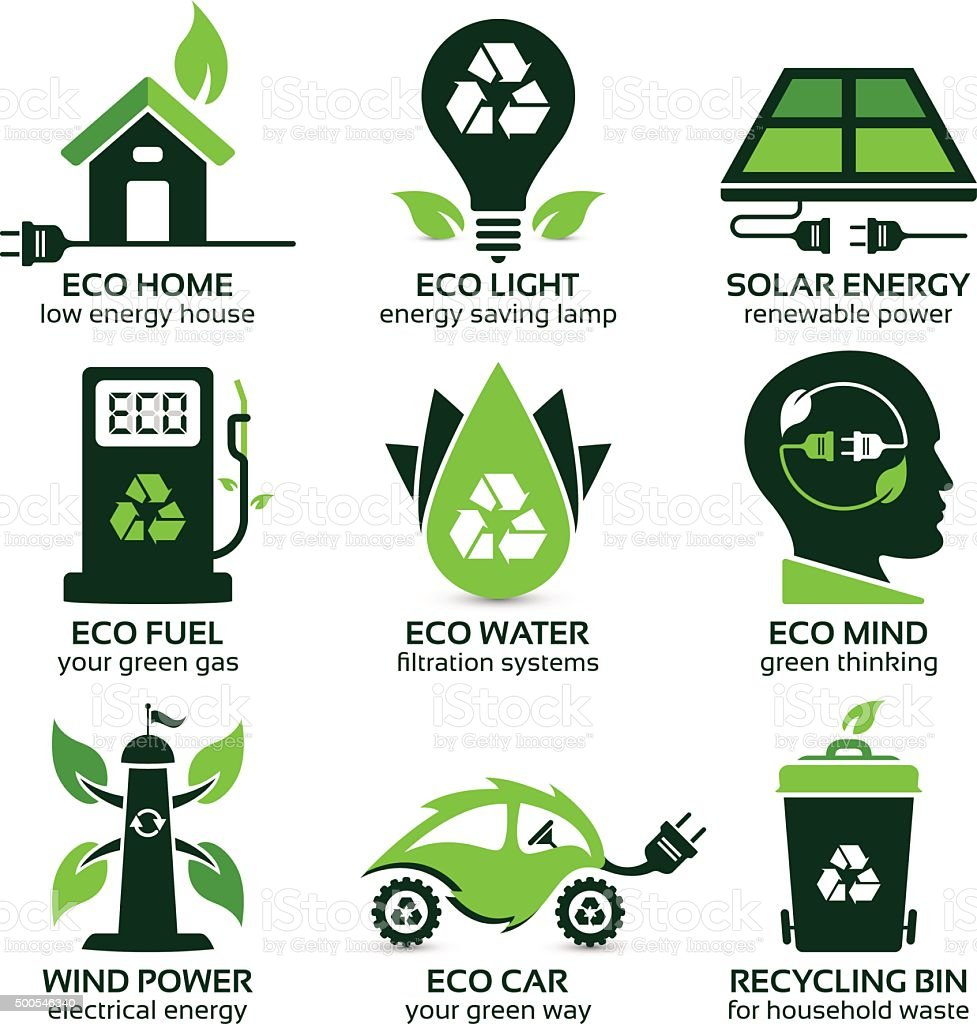 eco flat symbols promoting green lifestyle in the household vector art illustration