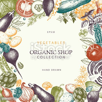 Healthy Food frame. Vector vegetables illustration. Sketched menu design. Vintage background