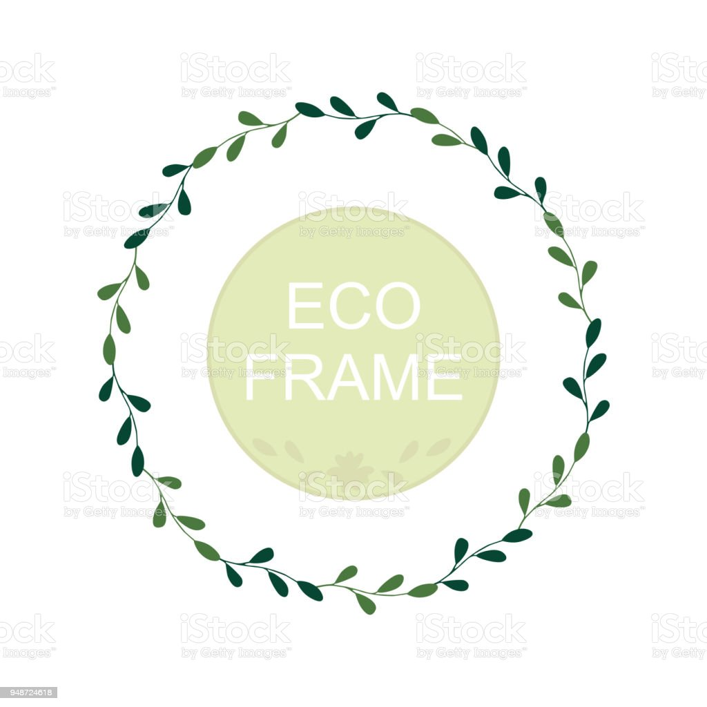 Eco Frame Round Wreath For Greeting Card Design Wedding Invitations ...