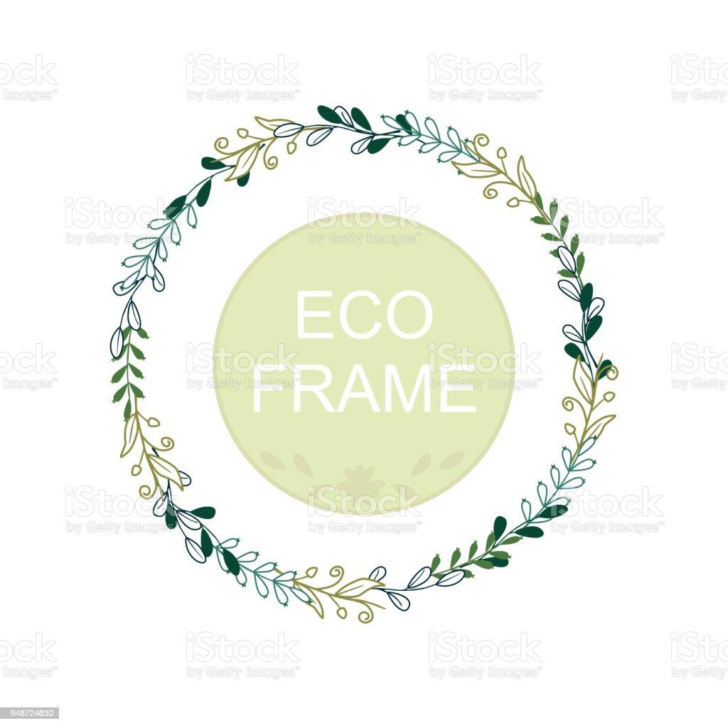 Eco Frame Round Wreath For Greeting Card Design Wedding Invitations ...