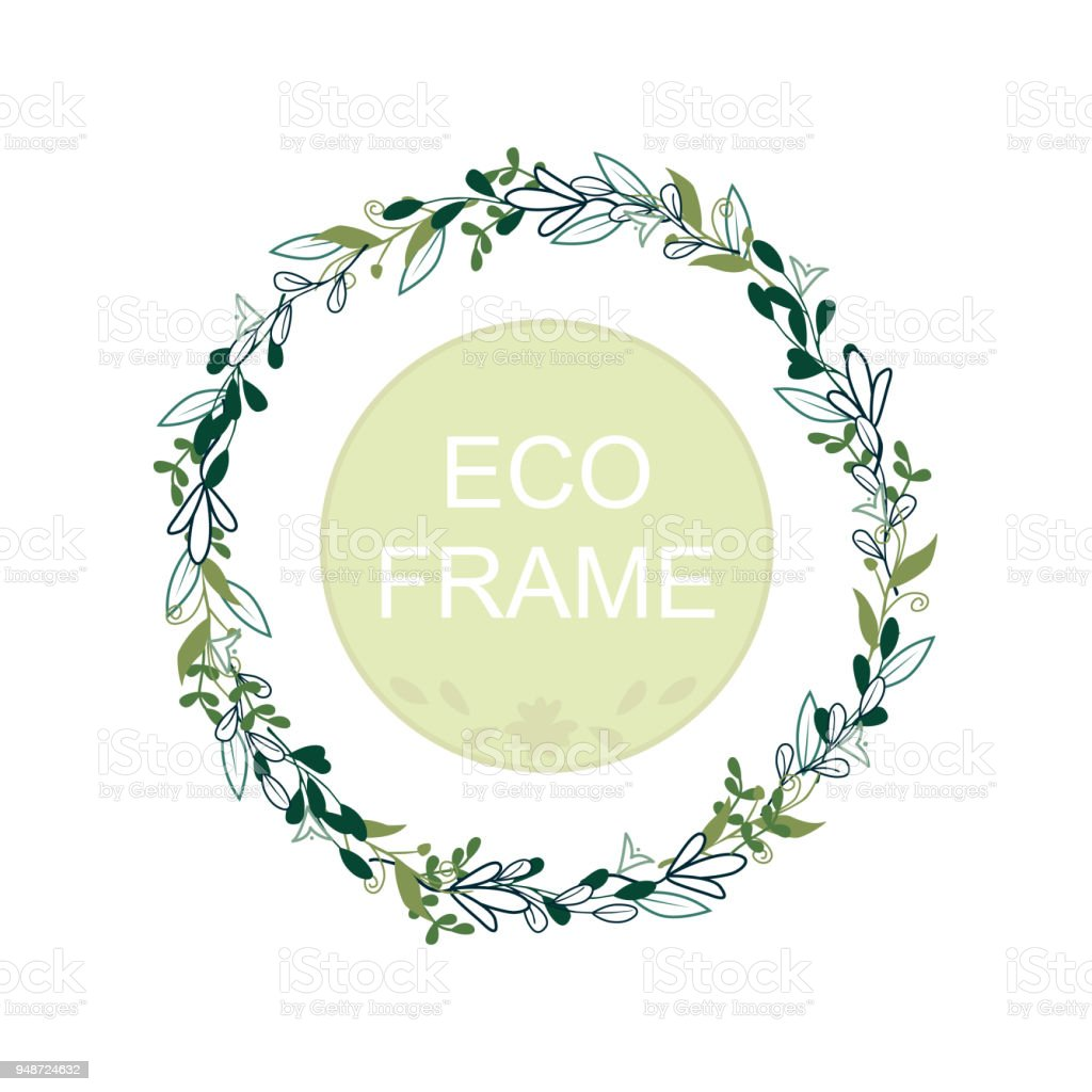 eco frame round wreath for greeting card design wedding invitations