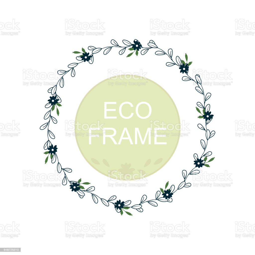 Eco Frame Round Wreath For Greeting Card Design Wedding Invitations