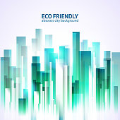 Eco friendly abstract city background. Urban vector design. Seamles pattern.