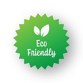 Eco Friendly Badge Template. Label Badge with Leaves. Organic Products and Organic Food Badge.