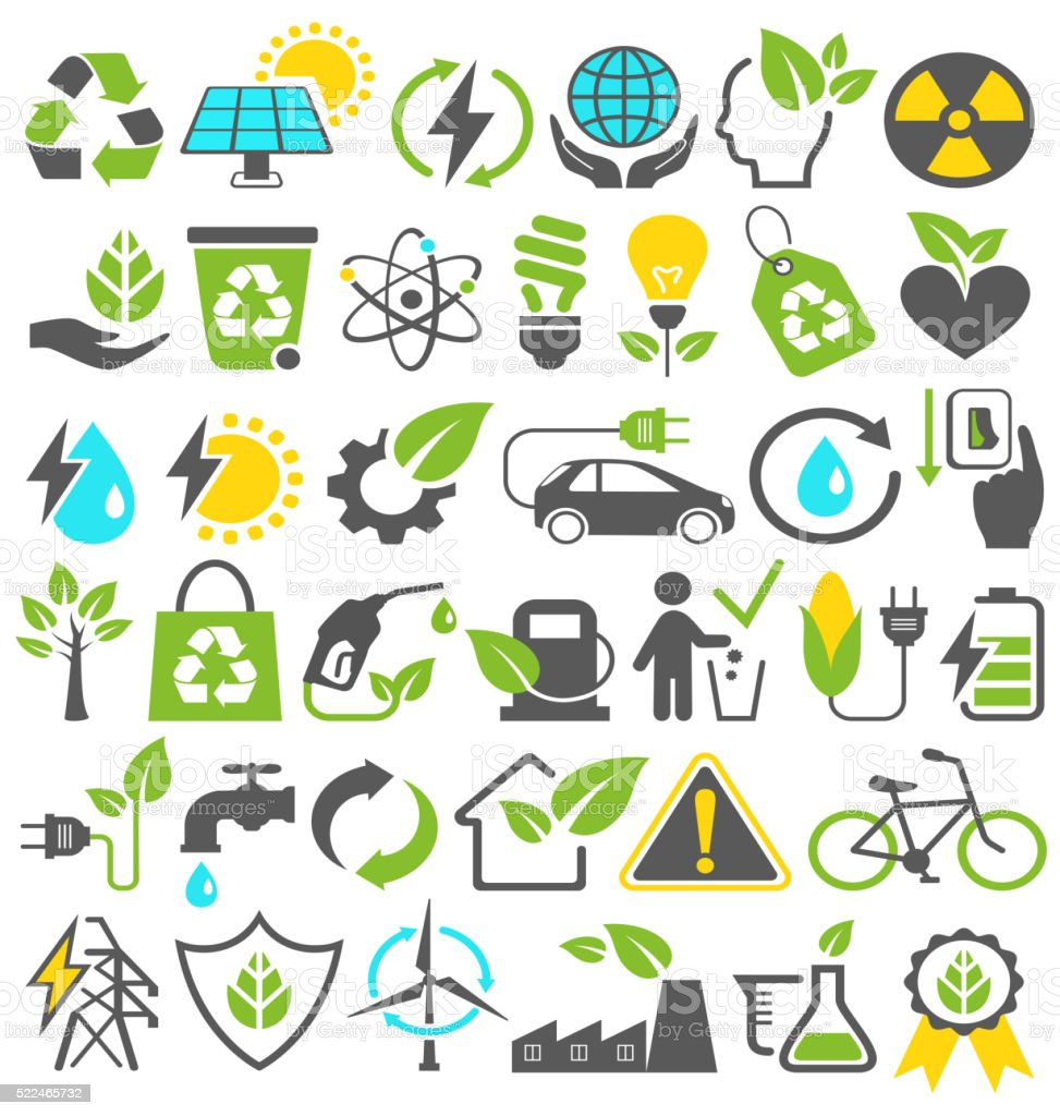 Eco Friendly Bio Green Energy Sources Icons Signs Set Isolated vector art illustration