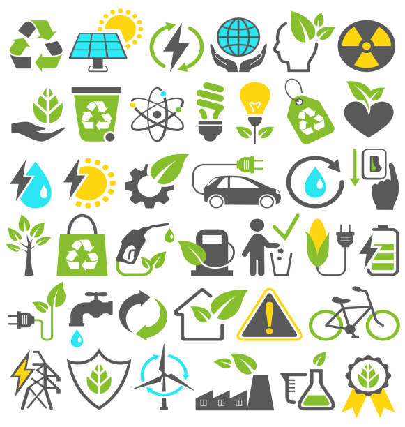 stockillustraties, clipart, cartoons en iconen met eco friendly bio green energy sources icons signs set isolated - red