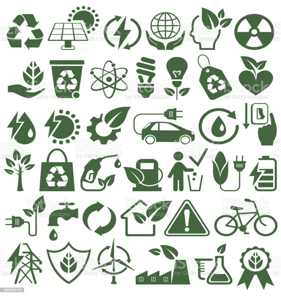 Eco Friendly Bio Green Energy Sources Icons Signs Set vector art illustration