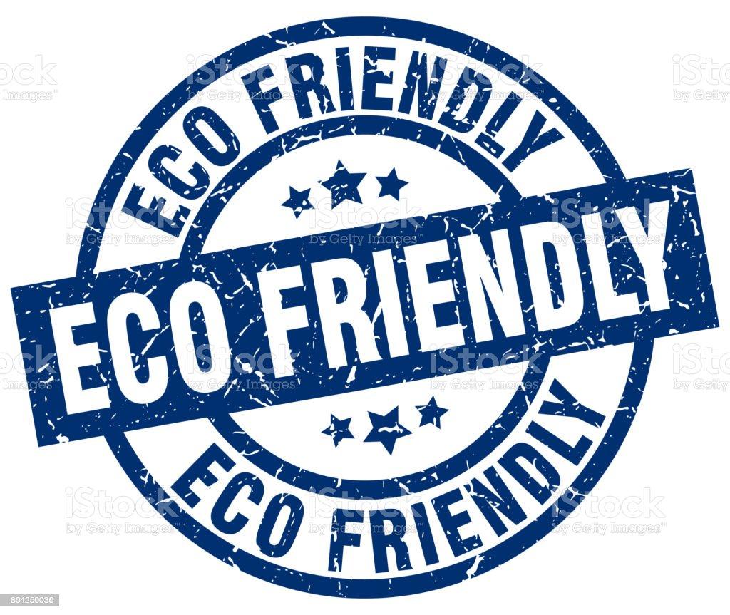 eco friendly blue round grunge stamp vector art illustration