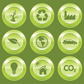 9 different Eco Friendly Environment Buttons.
