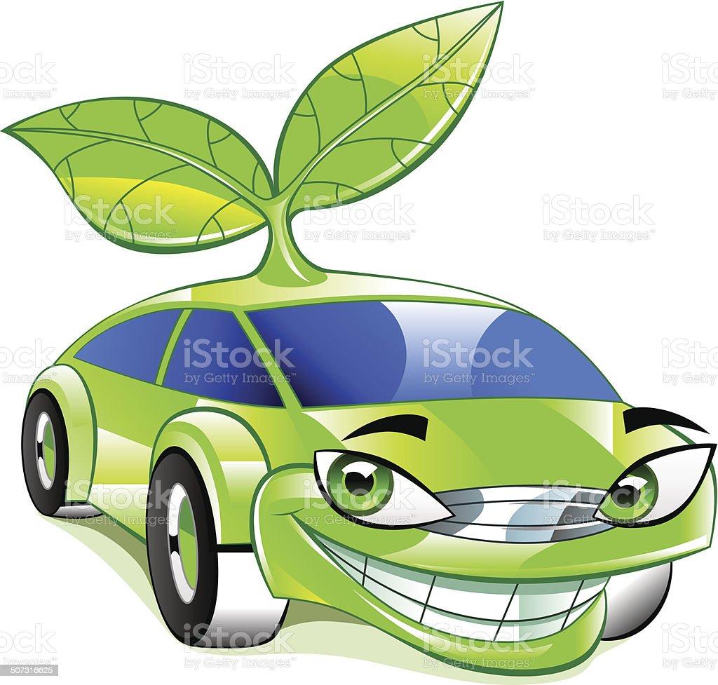 Eco friendly car vector art illustration