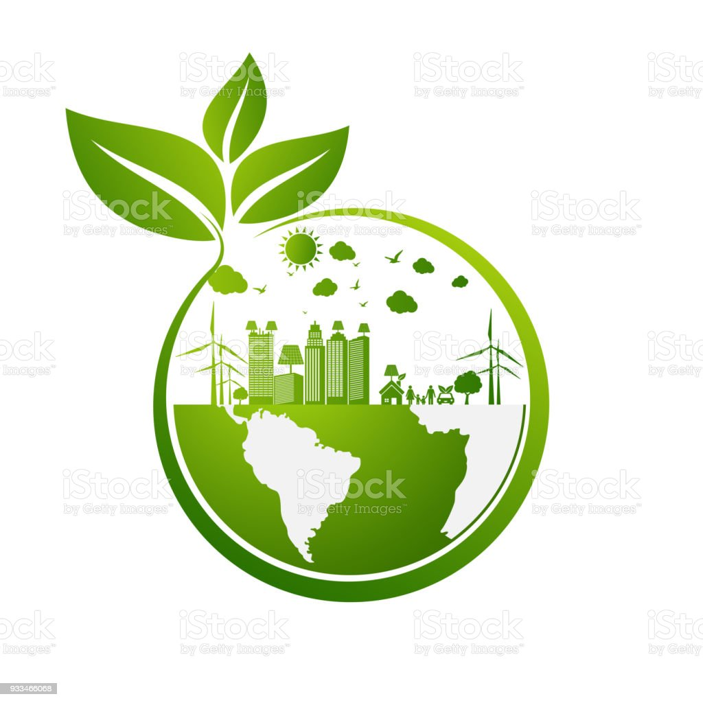 Eco Friendly Concept Green City Save The World стоковая