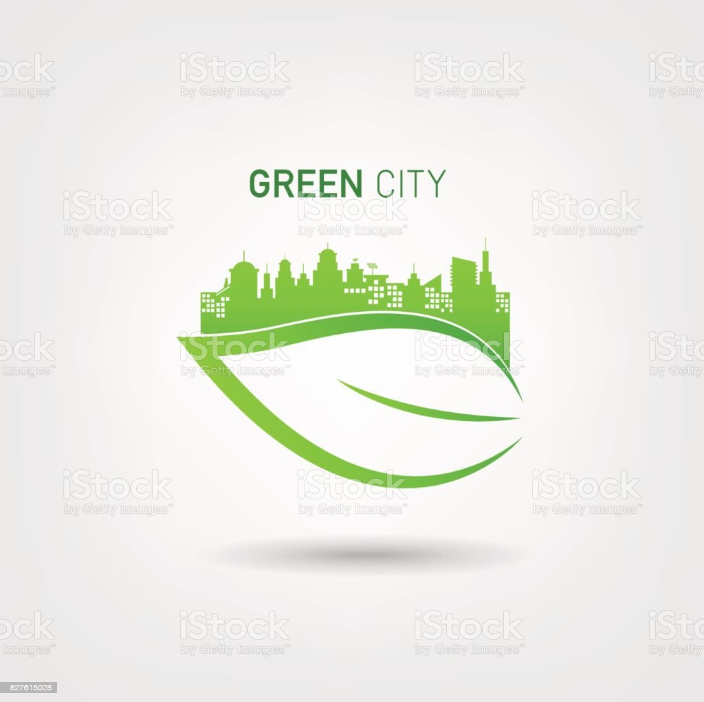 eco friendly concept with green city logo stock vector art. Black Bedroom Furniture Sets. Home Design Ideas