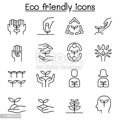 Eco friendly, conservation, saving nature, ecology, environment icon set in thin line style