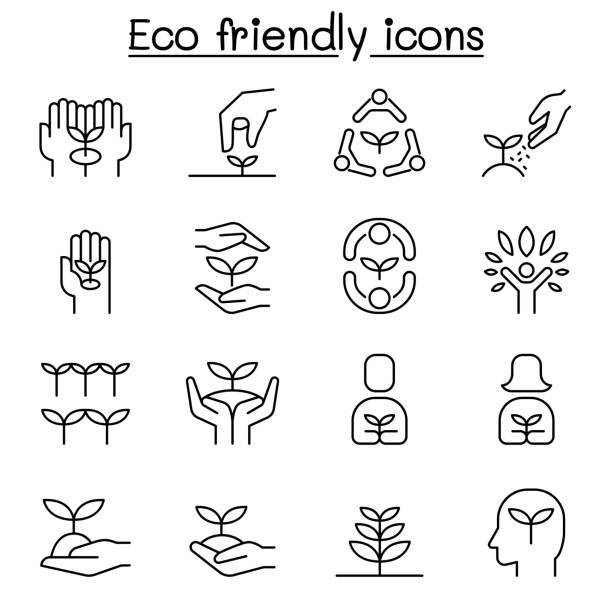 eco friendly, conservation, saving nature, ecology and environment icon set in thin line style - sustainability stock illustrations