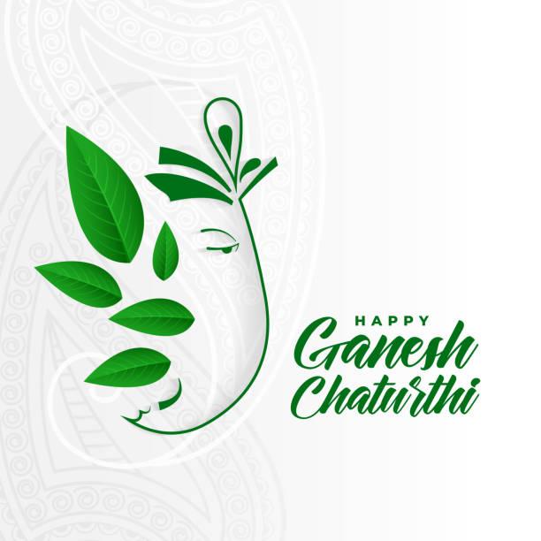 umweltfreundliche ganesh ji konzept-design für ganesh chaturthi - ganesh stock-grafiken, -clipart, -cartoons und -symbole