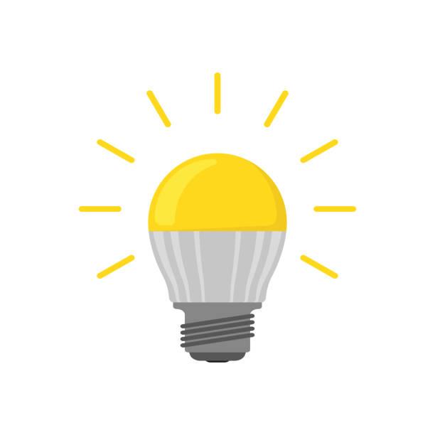 ilustrações, clipart, desenhos animados e ícones de eco amigável lâmpada led incandescente em apartamento - led