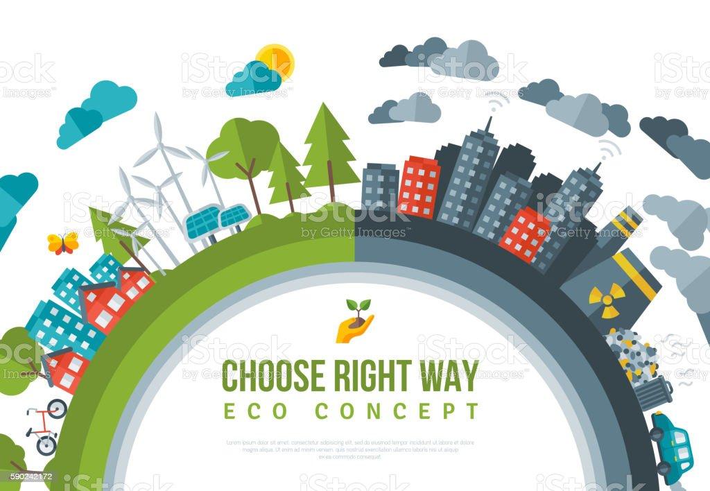 Eco Friendly, Green Energy Concept Frame. vector art illustration