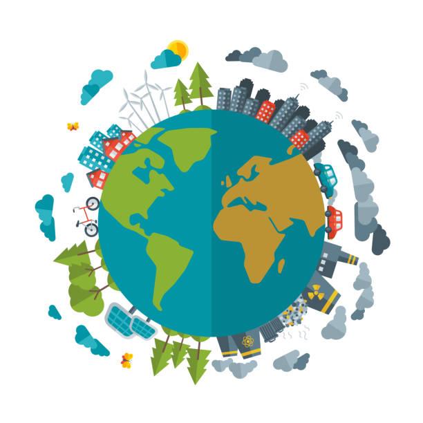 ilustrações de stock, clip art, desenhos animados e ícones de eco friendly, o conceito de energia verde, vector ilustração plana. - future hug