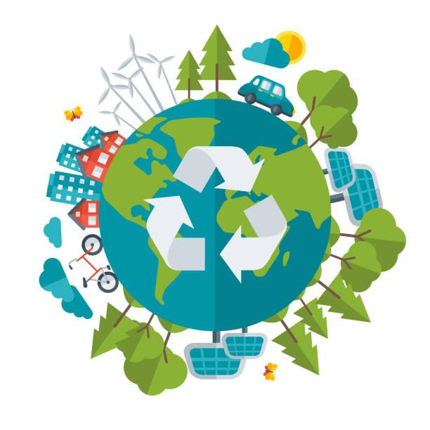 ilustrações de stock, clip art, desenhos animados e ícones de eco friendly, o conceito de energia verde, ilustração vetorial - future hug